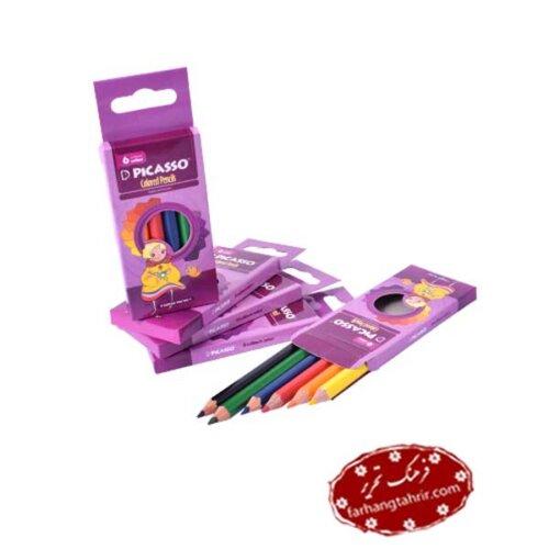 مداد رنگی 6 رنگ جعبه مقوایی Picasso