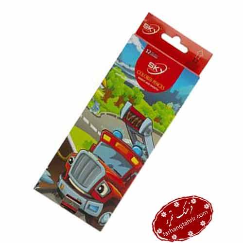 مدادرنگی 12 رنگ جعبه مقوایی اسکای
