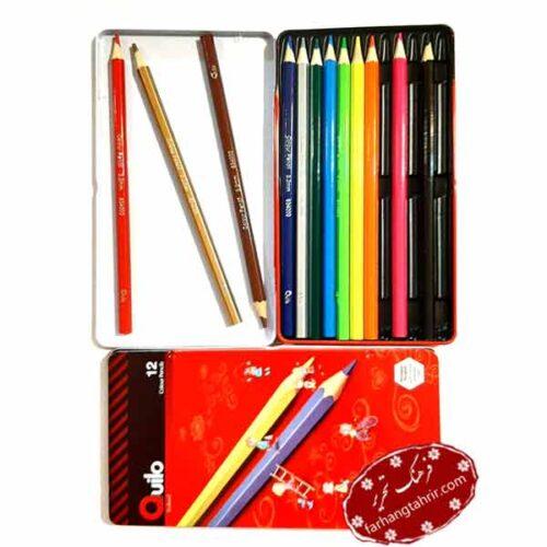 مداد رنگی 12 رنگ جعبه فلزی کویلو Quilo